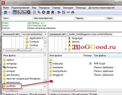 Установка темы WordPress с помощью FTP-клиента.