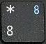 цифра 8 при включенном режиме NumLock.