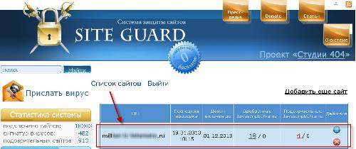 Ищем зараженные файлы через бесплатный сервис siteguard.ru