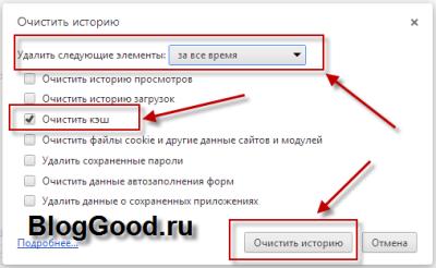 Очистить кэш браузера Яндекс.