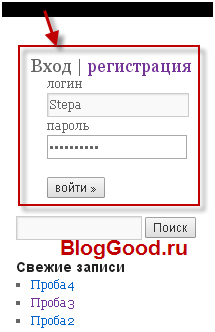 Форма входа для сайта (блога) на WordPress