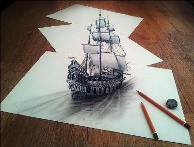 Трехмерные 3d-рисунки карандашом